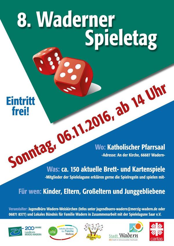 Plakat Waderner Spieletag am 6. November 2016