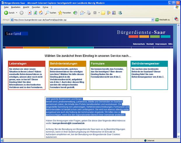 Externer Link: Bürgerdienste Saar Webseite